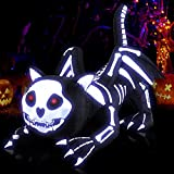 heytech Halloween Decorations Inflatable Black Skeleton Cat with Lights Outdoor Indoor Holiday Decorations, Blow up Lighted Glowing Yard Decor, Lawn Inflatables Home Family Outside