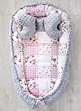 LOOLAY® 2seitig Kokon + Bärchen Kissen/Schmetterling Kissen für Neugeborene Plüsch MINKY Nestchen Babynestchen Babykokon Reisebett Säuglinge (Patchwork rosa/Minky grau S)