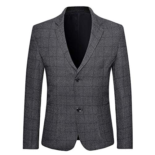 Qinhanjia Herren Blazer Slim Fit Casual Plaid Formelle Mäntel Leichte Zwei Knopf Anzug Jacke Mäntel Business Revers Anzug (Dunkelgrau, XXXL)