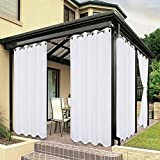 BONZER Waterproof Indoor/Outdoor Curtains for Patio - Privacy Grommet Curtains for Bedroom, Living Room, Porch, Pergola, Cabana, 1 Panel, 54 x 84 inch, White