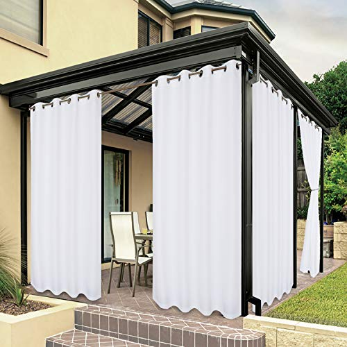 BONZER Waterproof Indoor/Outdoor Curtains for Patio Thick Privacy Grommet Curtains for Bedroom, Living Room, Porch, Pergola, Cabana, 1 Panel, 54 x 84 inch, White
