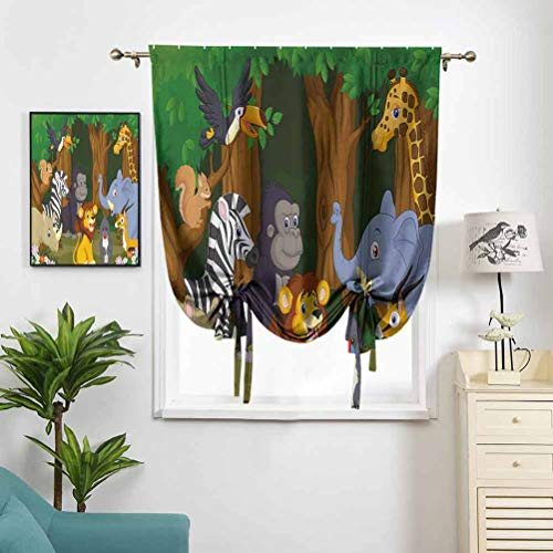 Dasnh Roman Shade Cartoon Style Gazelle Giraffe Gorilla W27 x L64 Home Textile for Living Rooom Bedroom