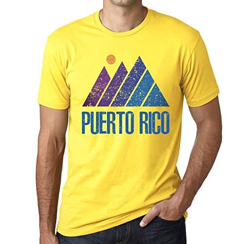 One in the City Hombre Camiseta Vintage T-Shirt Gráfico Mountain Puerto Rico Amarillo