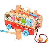 Hammering Pounding Toys Wooden Pull Car for Infants, Birthday Gift for 1 2 3 Years Boy Girl Baby Toddler Kids Developmental Montessori Toys
