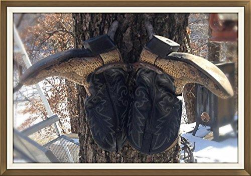 Horseshoe Cowboy Boot Rack, Blacksmith Made, Real Horseshoes