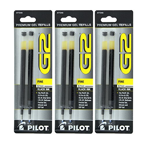 Pilot G2, Dr. Grip Gel/Ltd, ExecuGel G6, Q7 Rollerball Gel Ink Pen Refills, 0.7mm, Fine Point, Black Ink, 3 Packs of 2