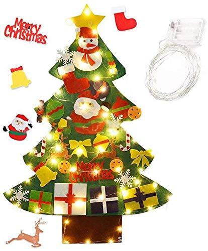 Kerstmis vilten boomwerpkarikuur grappige DIY kerstboom w/versieringen licht kerst kunst boom kerst raam deur wandbehang ornamenten kinderen Nieuwjaar kerstcadeaus wit