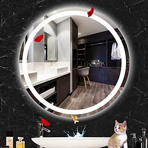 LZQHGJ YAWEN Iluminado DIRIGIÓ Espejo de baño   Espejo de vanidad con Interruptor táctil Incorporado Regulable   Luz Blanca/luz cálida   IP65 Impermeable y Anti-Niebla
