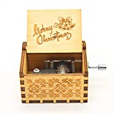 UNIQLED Merry Christmas Music Boxes Wooden Music Boxes Laser Engraved Hand Crank Classical Wood Sunshine Musical Box Gifts for Birthday Christmas Valentine's Day (Merry Christmas)