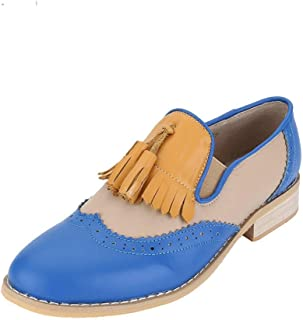 STARFARM Womens Leather Shoes Flats Slip-on Loafers 11, Blue White