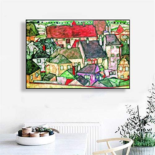 KWzEQ Rahmenlose Malerei Ölgemälde Poster und Druck Wandkunst Leinwand Bild Wohnzimmer Dekoration abstrakte StadtAY7178 40X60cm