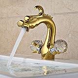 Grifo de lavabo de dragón, grifo de baño, mezclador de fregadero, grifo montado en cubierta, doble mango de cristal, mezclador de agua fría y caliente 3497