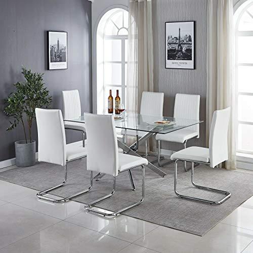 H Range Pompeii - Mesa de comedor con estilo italiano, de cristal transparente y 6 sillas blancas y negras (mesa y 6 sillas blancas Milan)