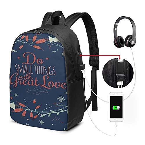 Romantic Floral Wreath With Laurel Leaves Loving Wishes Calligraphy Vintage Decorative 17-Inch Laptop Backpack With Usb Charging Port Men