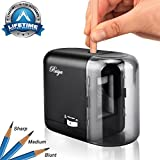 Electric Pencil Sharpener, Auto-Stop Feature and Best Heavy Duty Helical Blade Sharpeners for Office School Classroom Kids Artists, AC or Battery Operated for No.2 and Colored Pencils. (Black)