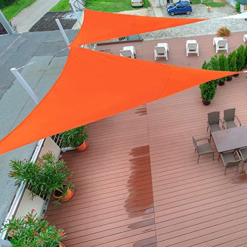 Outsunny Toldo Vela Color Naranja sombrilla Parasol triangulo Tela de Poliéster 160g/㎡ Jardin Playa Camping Sombra Medidas, Medida 3x3x3 Metros, Color Naranja