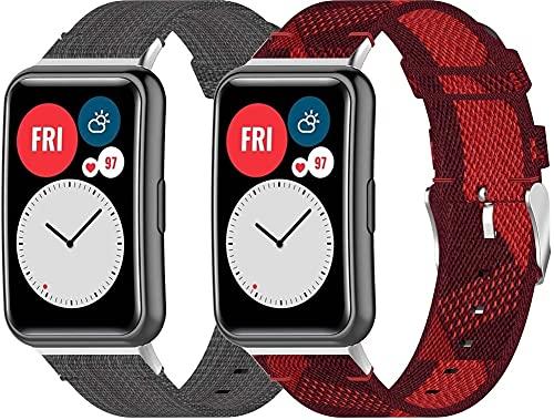 Nylon Trenzado Correa de Reloj Compatible con Huawei Watch Fit/Huawei Fit, Clásicos exquisitos Pulseras de la Correa de los Hombres (Pattern 2+Pattern 6)