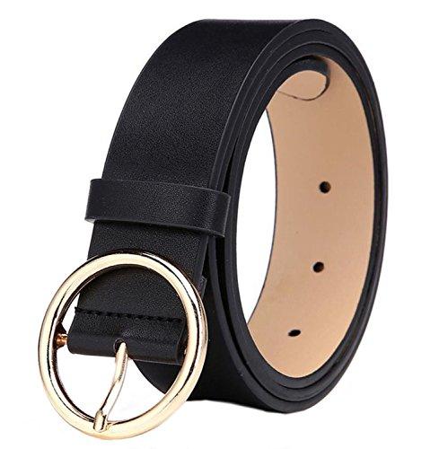 MESHIKAIER Damen mode PU Leder Gürtel Taillengürtel Hüftgürtel Casual Waist Belt mit Metallisch Schnalle (Schwarz)