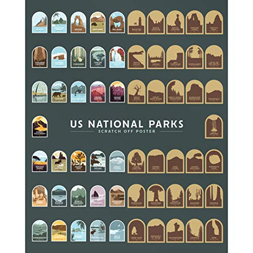 """US National Parks Scratch Off Poster - 16"""" x 20"""""""