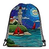 Mochila con cordón, Saco de Gimnasia, vidrieras con Vista al mar Tres Naves Shore Lighthouse Starry Night Cloud Moo