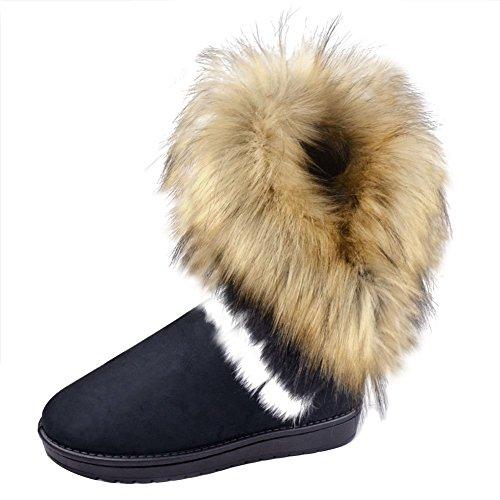 Mooyii Damen Winter Schneestiefel Winterstiefel Stiefeletten Schlupfstiefel Boots Warm Pelz Stiefel