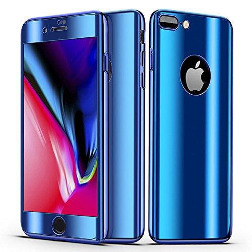Karomenic - Funda protectora de espejo compatible con iPhone 6/6S de 360 grados de cristal blindado, carcasa protectora de PC ultrafina para móvil delantera y trasera de doble protección, azul