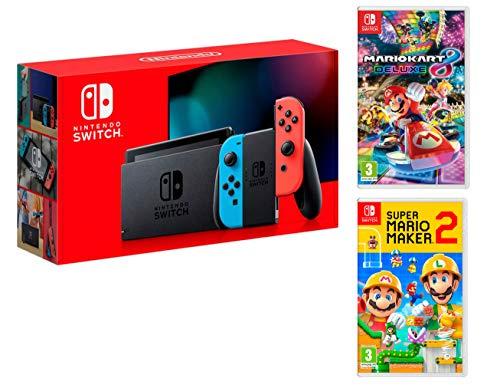 Nintendo Switch Rouge/Bleu Néon 32Go [Nouveau modèle] + Super Mario Maker 2 + Mario Kart 8 Deluxe