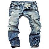 N\P Strappato Denim Jeans per gli Uomini Dritto Slim Plus Jeans Uomini Alta Blu Jeans Maschio Pantaloni Blu 42