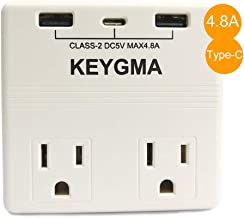 KEYGMA UL498 Standard 5V 4.8A Max Electrical Wall Outlet Adapter with 2 USB Charging Ports & One Type-C port, Smart USB Wall Charger Fast Charging, ETL Certified