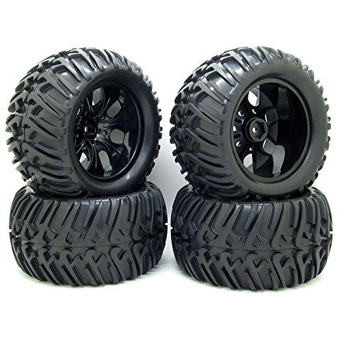 4PCS RC 1/10 RC Truck Off-Road Car Rubber Tires + 7 Spokes Wheel Rim Black RC Car Parts