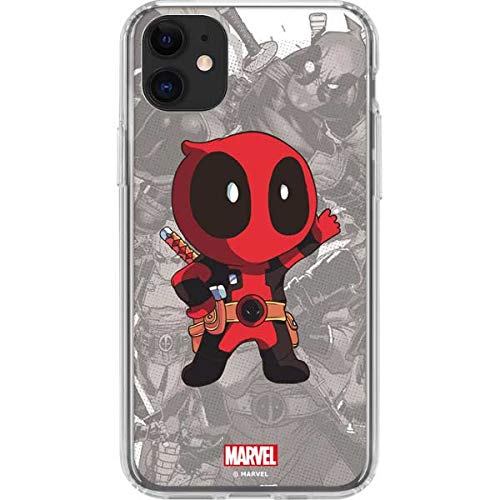Skinit Clear Phone Case Compatible with iPhone 11 - Officially Licensed Marvel/Disney Deadpool Hello Design