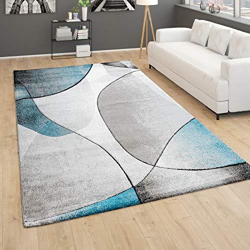 Paco Home Alfombra salón Pelo Corto 3D Abstracta geométrica Gris Turquesa, tamaño:120x170 cm