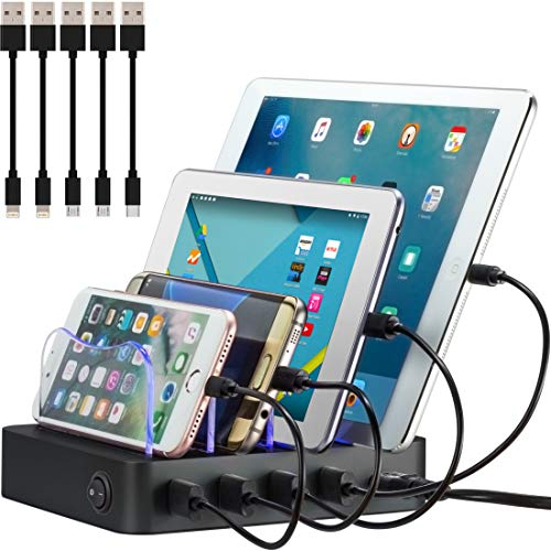 Simicore Charging Station (Original U.S. Design Patent) - Stylish Multiple Device Charger, with 5 Mini Cables for Apple and Android (Black)