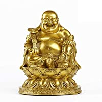 BuddhStatue、Gifts&decor Happy Sitting Buddha、Wealth And Luck Figurine、Zen Home Decor Statue Gifts Golden 6.7inch