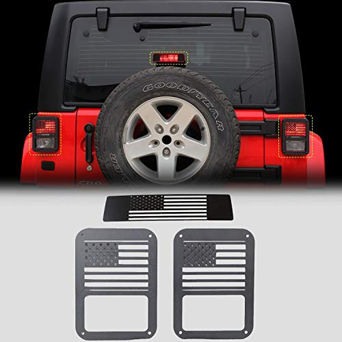 RT-TCZ Tail Light Guards Covers Brake Light Cover for Rear Taillights 2007-2017 Jeep Wrangler JK Unlimited Accessories (US Flag-1)
