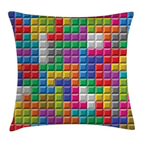 Funda de almohada divertida para videojuegos, diseño de bloques de ladrillo, diseño de bloques de imagen digital de los 90, diseño cuadrado, decorativa, funda de almohada divertida, 40 x 40 cm, multicolor
