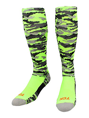 TCK Sports Elite Performance Over The Calf Camo Socken, Herren, Neongrün Camouflage, X-Large