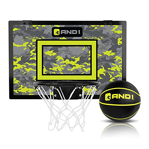 "AND1 Over The Door Mini Hoop: - 18""x12"" Easy to Install Portable Basketball Hoop with Steel Rim, Includes 5"" Mini Basketball, Indoor Game Set for Children and Adults- Black & Volt"