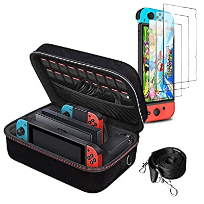 Carrying Storage Case for Nintendo Switch and [3 Pack] Screen Protector for Switch Bundle,All Protective Hard Messenger Bag Soft Lining 18 Games for Switch Console Pro Controller & Accessories Black from