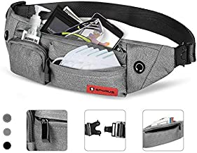 SPORUS Fanny Pack for Men and Women, Waist Bag with 4 Zipper Pockets, Belt Bag Soft Polyester for Running Hiking Cycling Traveling [Grey]