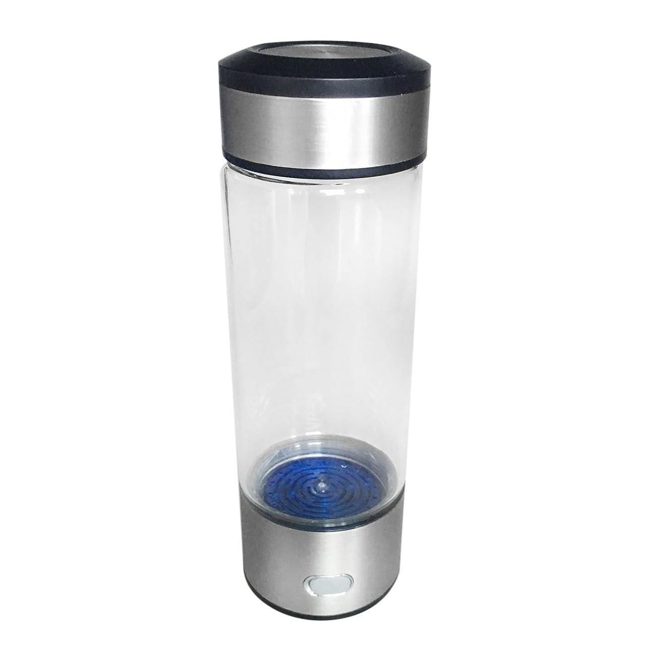 淡い太字電圧Saikogoods 水素リッチボトルウォーターボトルホームオフィスのためのポータブル水ガラス無料イオナイザ飲料ボトル健康アンチエイジングボトル 透明&シルバー