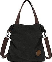 Crossbody Cloth Purses Womens Casual Canvas Shoulder Bags Satchel Travel Tote Handbags Black
