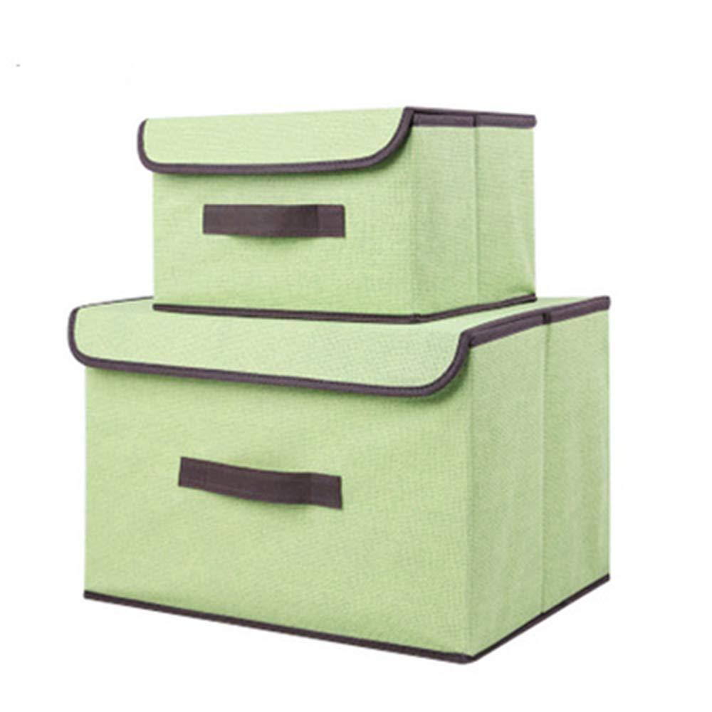 Caja de Almacenaje de Tela, Plegable Set de 2 Cajas de Almacenaje Cubos de Tela Organizador Plegable con Tapa y Ventana de Etiqueta Almacenaje Juguetes, Caja para Ropa (Verde): Amazon.es: Hogar