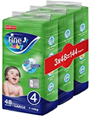 Fine Baby Fast Sorption, Size 4, Large, 7-14 kg, Jumbo Pack, 144 Diapers