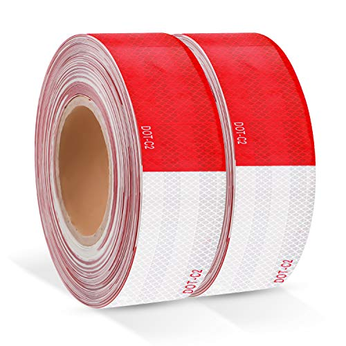 2 inch x 200Feet Red/White Reflective Flexible Tape DOT-C2 Waterproof Reflector Strips Safety Adhesive Conspicuity Warning Stickers with Reflective Paint for Trailer Outdoor Car Truck Pickup Mailbox