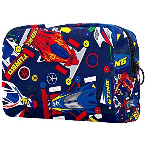 Kosmetiktasche für Make-up-Pinsel, tragbar, für Damen, Handtasche/Kosmetiktasche, Reise-Organizer, Mini-Allrad-Spielzeug, Auto, Blau