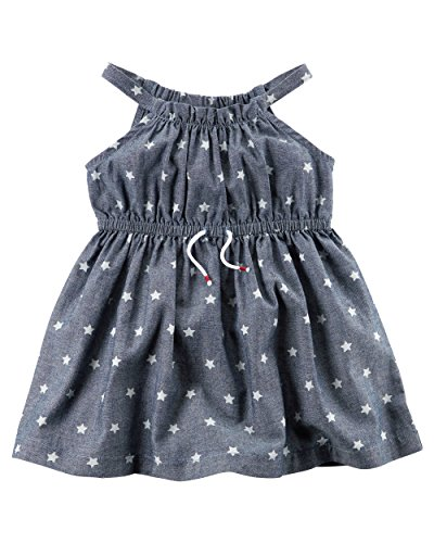 Carter's Baby Girls' Star Printed Chambray Dress, Blue, Newborn