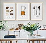 HHLSS 3 Teilig Leinwand Kuchen Gebäck Keks Messer Dekorative Wandbilder Leinwand Malerei Poster Home Decoration für Wohnzimmer Kein Gestaltet-50 cm x 70 cm x 3
