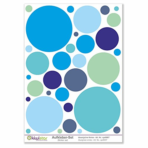 Kiwi Star Bleues et Vertes Cercles, 33 Cercles, Autocollants de décoration Murale Arc Stickers Couleur Surface Totale :, Bleu, Bogengröße_A1 ca. 80x60cm
