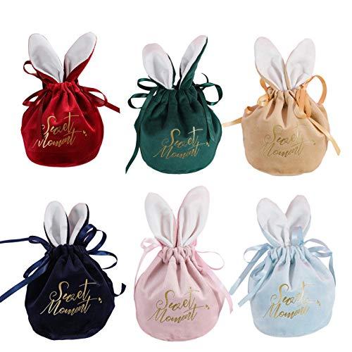 MEYANG Ostergeschenktüten, 5/30PCS Oster-Cartoon-Hasen-Geschenktüte, Osterhasen-Eierbeutel Candy Storage Tote Velvet Bags, Hochzeitsfeier Candy Treat Bag Mit Hasenohren